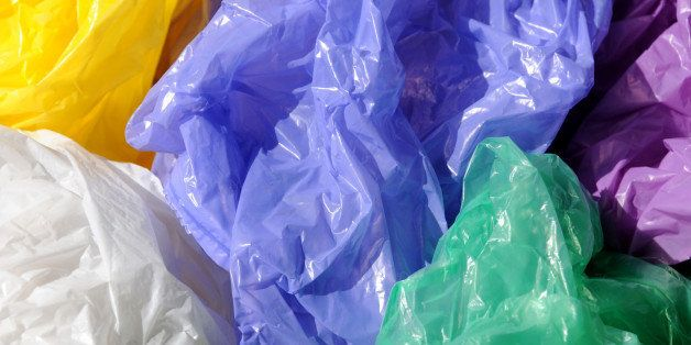 Separated colorful used plastic shopping  bags for waste collection