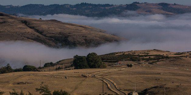 JENNER, CA - OCTOBER 14:  Fog creeping in along the coastline and California Highway 1 is viewed from Meyers Grade Road on Oc