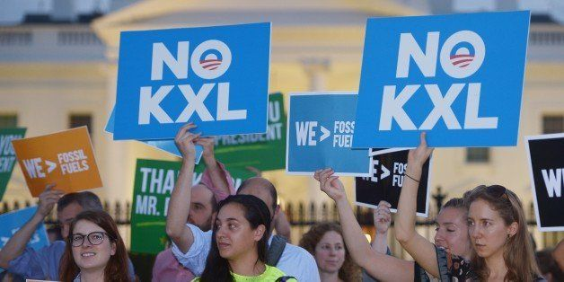 Activists, celebrating US President Barack Obama's blocking of the Keystone XL oil pipeline, rally in front of the White Hous
