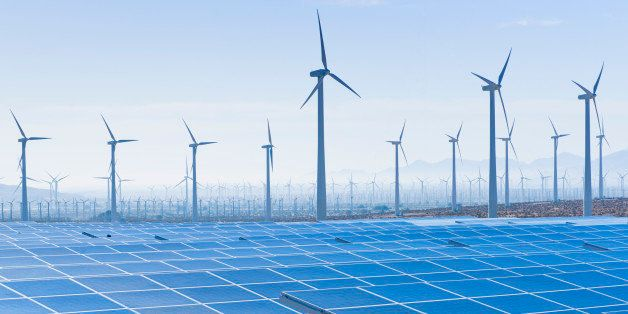 USA, California, Palm Springs, Wind farm and solar panels
