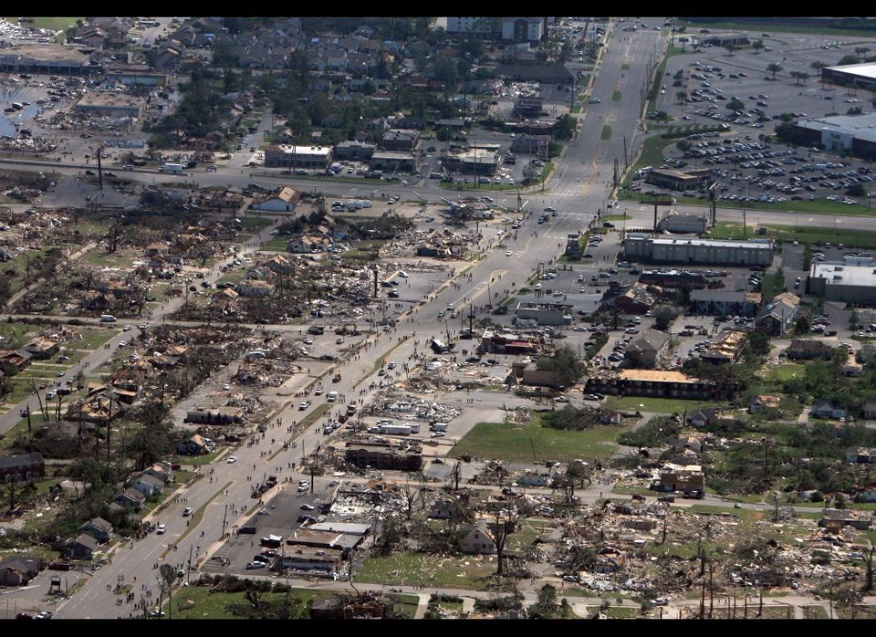 This aerial photo shows the devastation of  the Cedar Crest and Forest Lake neighborhoods in Tuscaloosa, Ala. on  Thursday, A
