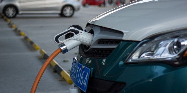 BEIJING, CHINA - 2014/12/16: A charging station for electric cars.  To fight the 'war on pollution' , Chinese government is i