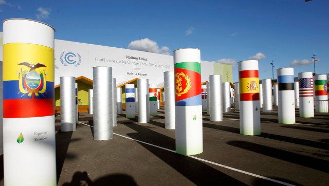 PARIS, FRANCE - NOVEMBER 22:  A general view of the main entrance of the Conference on Climate Change COP21 on November 22, 2