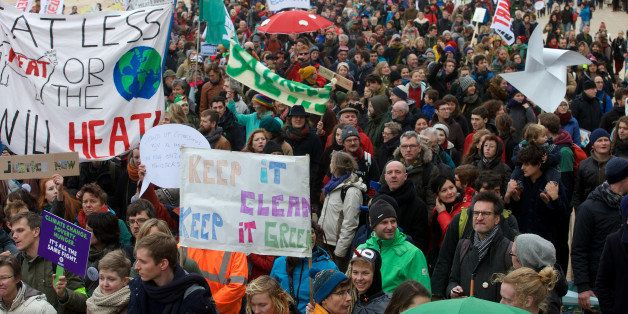 Demonstrators participate in the 'Climate March' protest on December 6, 2015 in Oostende, during the COP21 United Nations Con