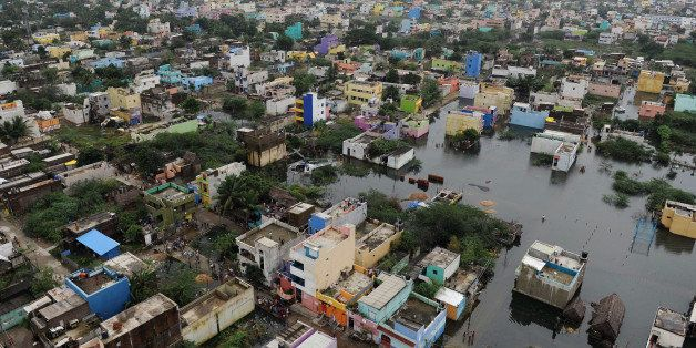 An aerial view from an Indian relief helicopter shows flood affected areas of Chennai on December 5, 2015.    Thousands of re