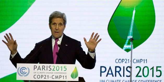 U.S Secretary of State John Kerry delivers his speech during a news conference at the COP21 Climate Conference in Le Bourget,