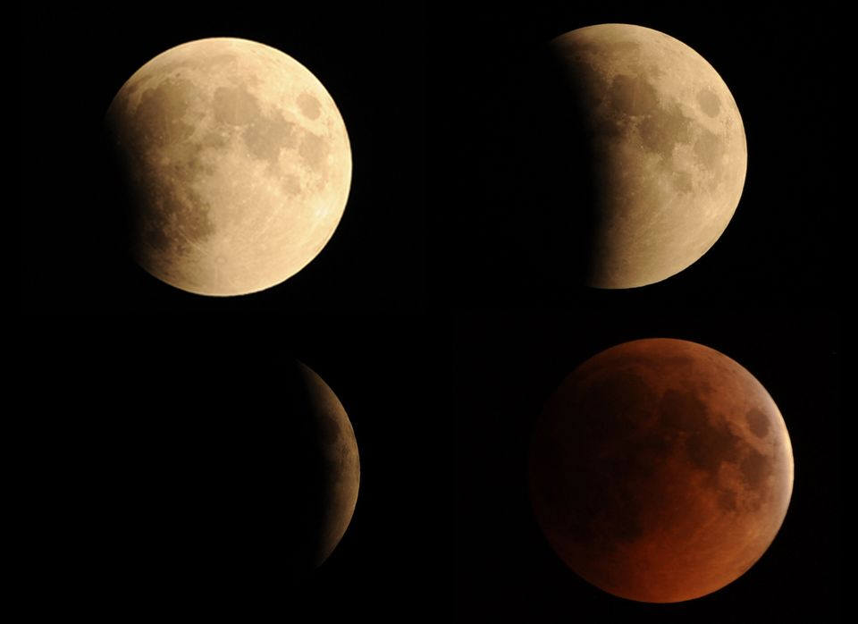A combination of pictures taken in Islamabad shows the moon in various stages of a total lunar eclipse on June 16, 2011. Astr