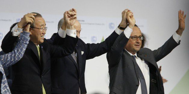(L-R) Secretary General of the United Nations Ban Ki Moon, Foreign Affairs Minister and President-designate of COP21 Laurent