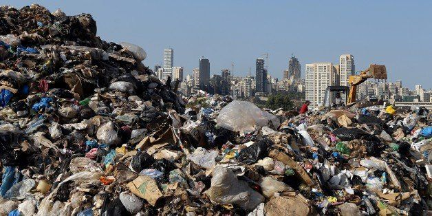 Garbage piles up at a temporary garbage dump in the eastern suburb of Beirut on November 3, 2015. Garbage crisis, began in mi