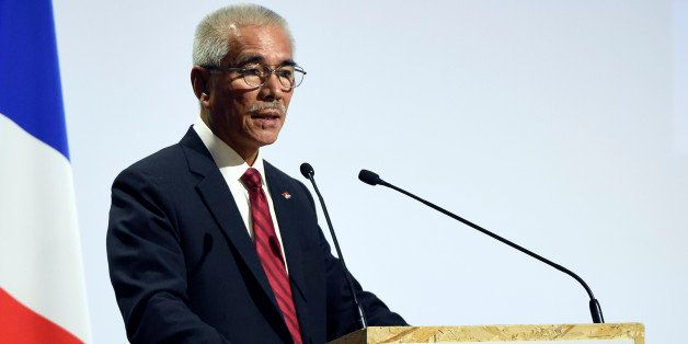 Kiribati President Anote Tong  delivers a speech during the opening day of the World Climate Change Conference 2015 (COP21),