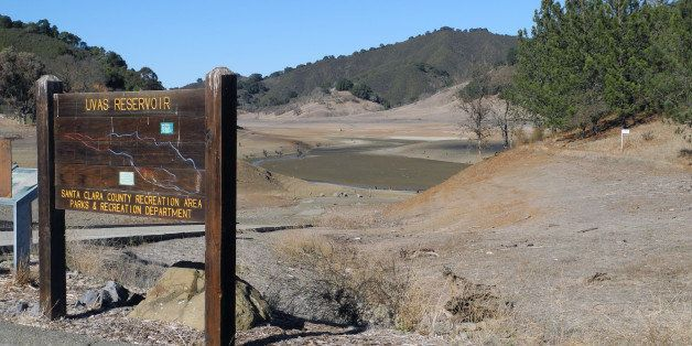 The current drought is obvious here at Uvas Reservoir in Santa Clara County, which usually contains a substantial amount of w