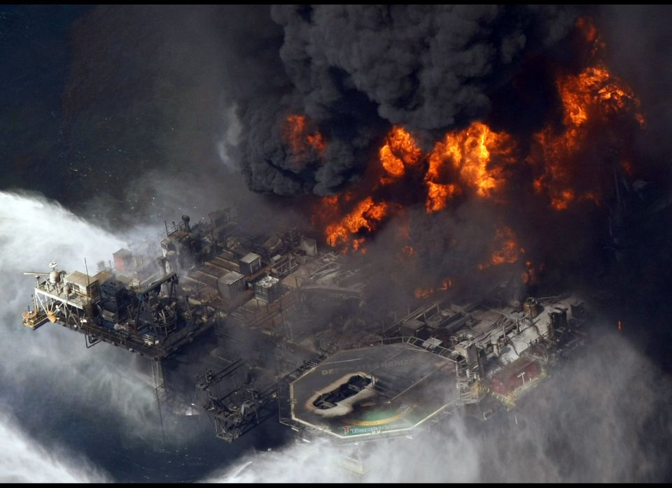 The Deepwater Horizon, an floating drilling rig leased by BP, burns in the Gulf of Mexico. The rig exploded on the night of A