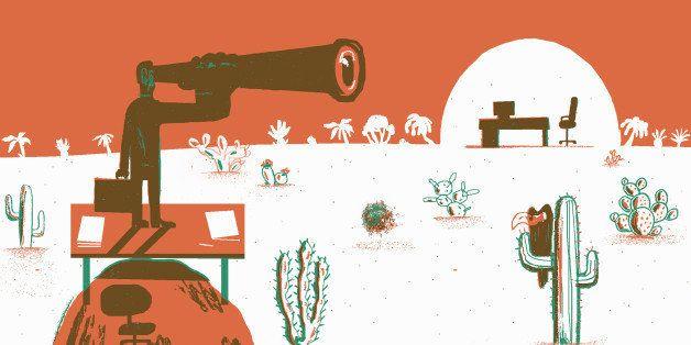 Businessman looking through telescope in desert at new job