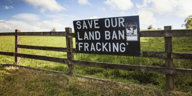 A banner calling for a ban on the controversial method of gas extraction known as fracking