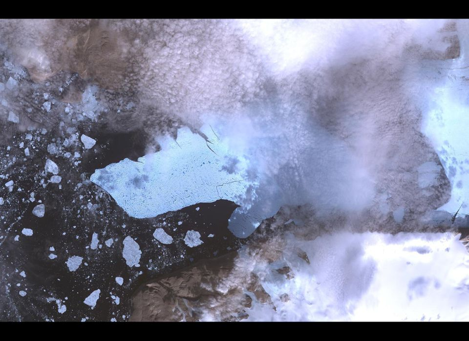 This image provided by NASA of the Petermann Glacier and the new iceberg was acquired from the Advanced Spaceborne Thermal Em