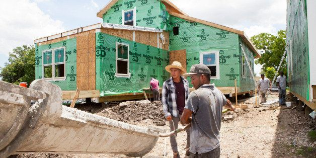 NEW ORLEANS, LA - MAY 28: Construction workers from Honduras and Mexico work on new houses in the Lower Ninth Ward, on May 28