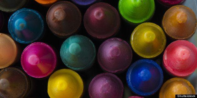 close up set of crayons and mix ...