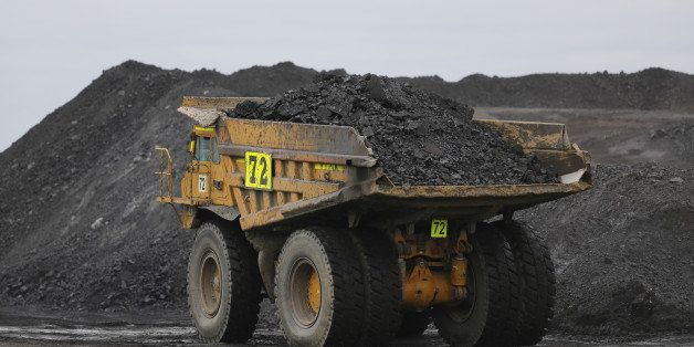 A dump truck carries a load of coal on a haulage road at the Peabody Energy Somerville Central mine in Oakland City, Indiana,
