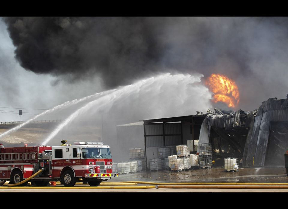 A chemical plant burns near Waxahachie, Texas, Monday, Oct. 3, 2011. The cause of the fire is unknown and no injuries are rep