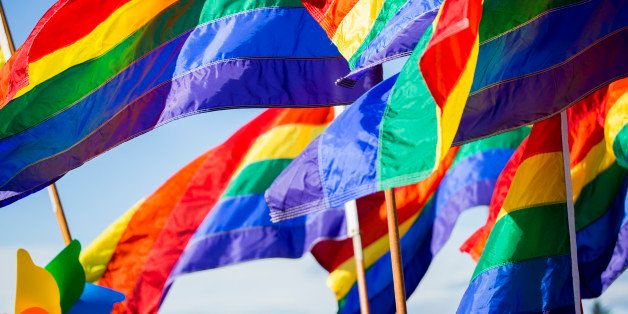 Close-up of rainbow gay pride flags