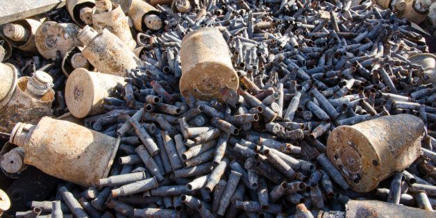Destroyed ammunition are seen on the site from the Syrian army base near Salma. Destroyed by the Syrian army (officially the