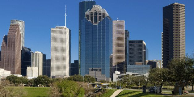 View of the downtown area of Houston from a Buffalo Bayou park.
