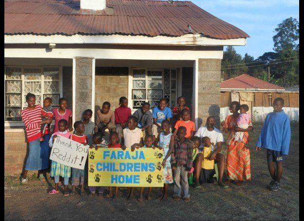 A thankful group at the Faraja Orphanage in Kenya. 