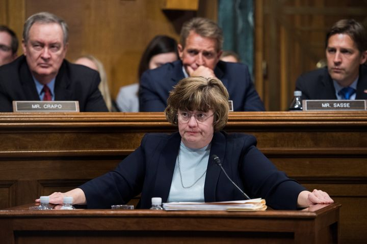 Rachel Mitchell, counsel for Senate Judiciary Committee Republicans, questions Christine Blasey Ford during a hearing on the