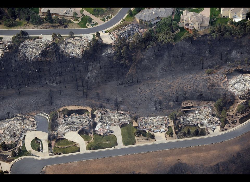 This aerial photo shows the destructive path of the Waldo Canyon fire in the Mountain Shadows subdivision area of Colorado Sp