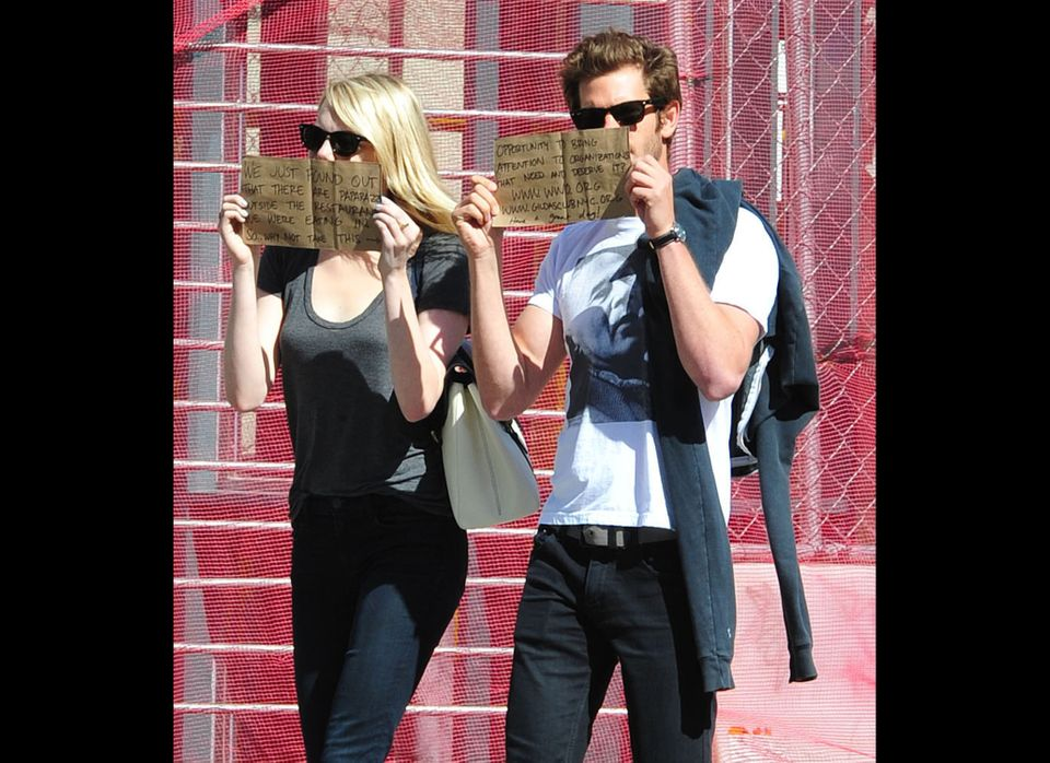Couple Emma Stone and Andrew Garfield using their celebrity status to draw attention to a good cause after leaving lunch in N