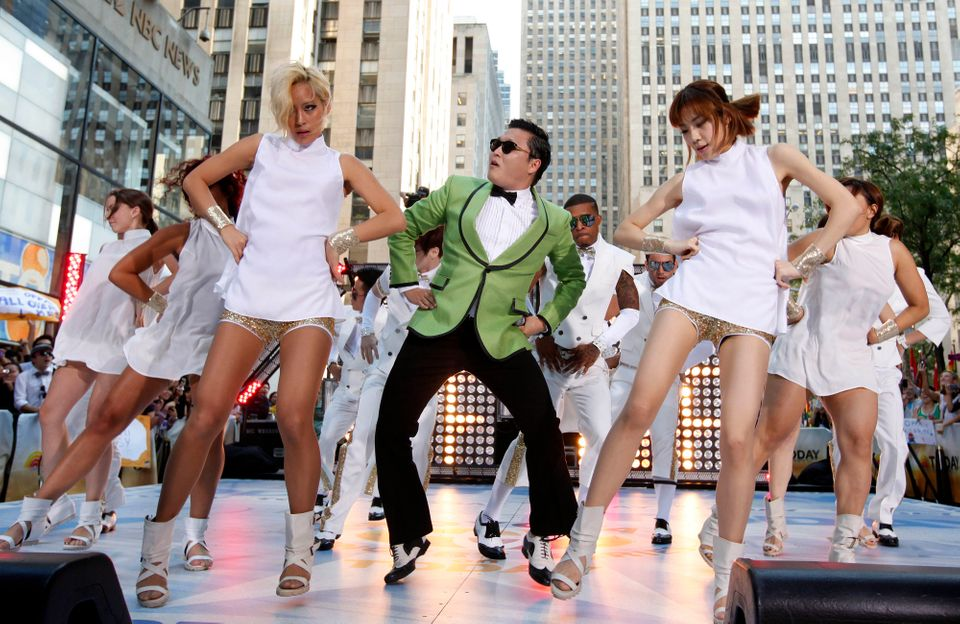 "In this photo taken on Sept. 14, 2012, South Korean rapper PSY performs his massive K-pop hit ""Gangnam Style"" live on NBC's """