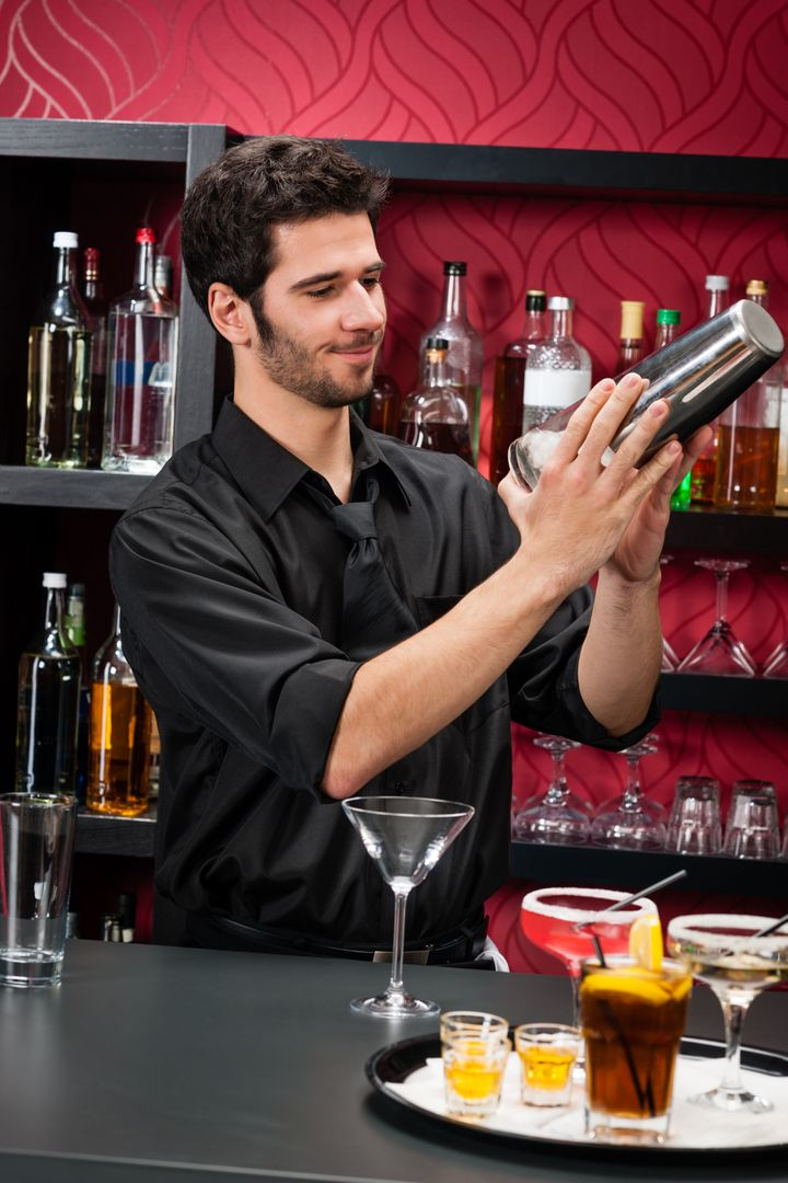 handsome barman professional at ...