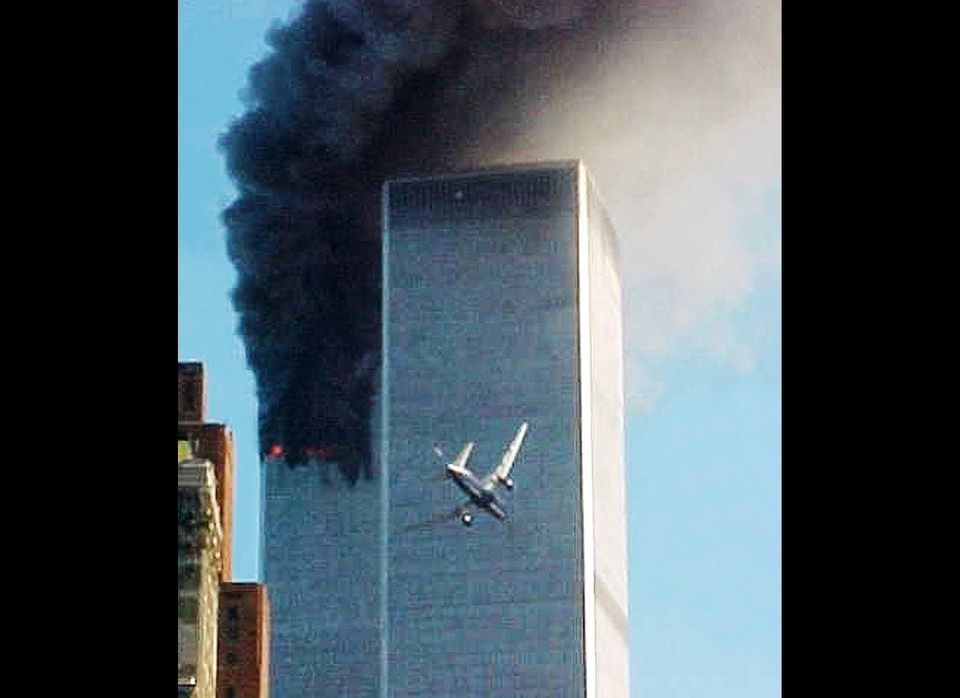 In this Sept. 11, 2001 file photo, United Airlines Flight 175 approaches the south tower of the World Trade Center in New Yor