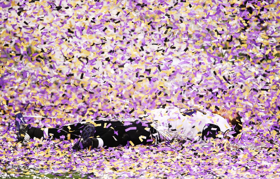 NEW ORLEANS, LA - FEBRUARY 03:  Morgan Cox #46 of the Baltimore Ravens celebrates after the Ravens won 34-31 against the San
