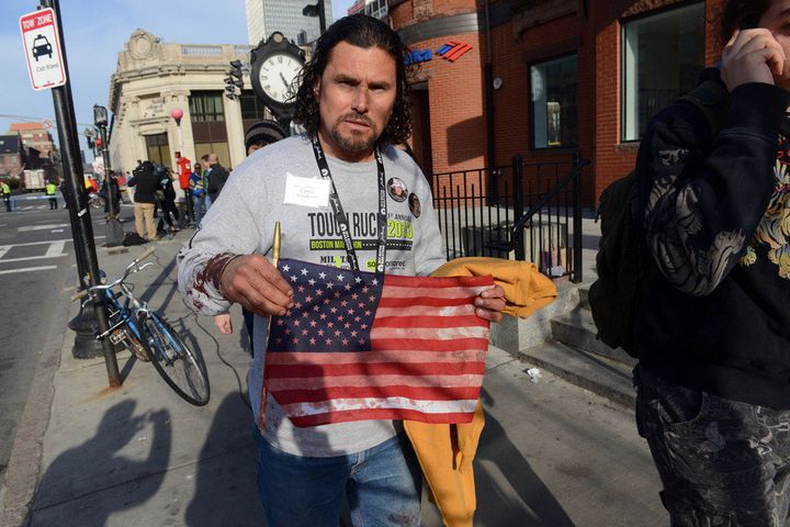 BOSTON, MA - APRIL 15:  Carlos Arredondo, who was at the finish line of the 117th Boston Marathon when two explosives detonat