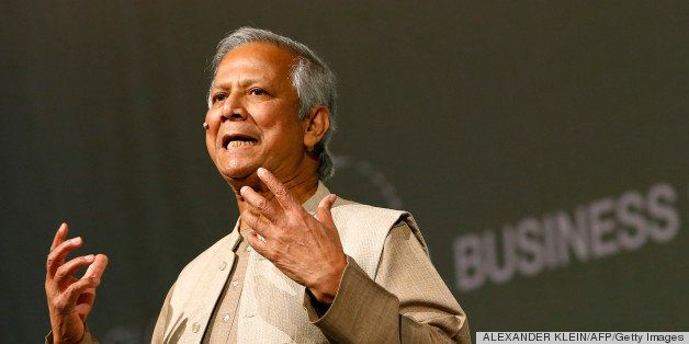 Bangladeshi Nobel Peace Prize winner and microcredit pioneer Muhammad Yunus delivers a speech during the 4th edition of the G