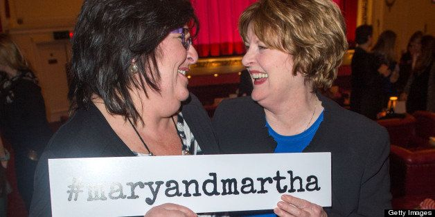 LONDON, ENGLAND - FEBRUARY 26:   Jo Yirrell and Brenda Blethyn attend the private screening of Mary & Martha, hosted by Emma