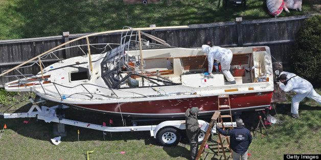 WATERTOWN - APRIL 22: Aerial view of the boat where one of the Boston Marathon bombing suspects was found, in a backyard on F