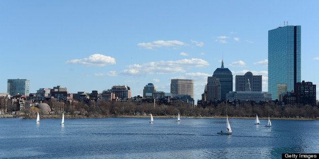 BOSTON, MA - MARCH 30:  A general view of the Charles River Boat Club and the city of Boston skyline on March 30, 2013 in Bos