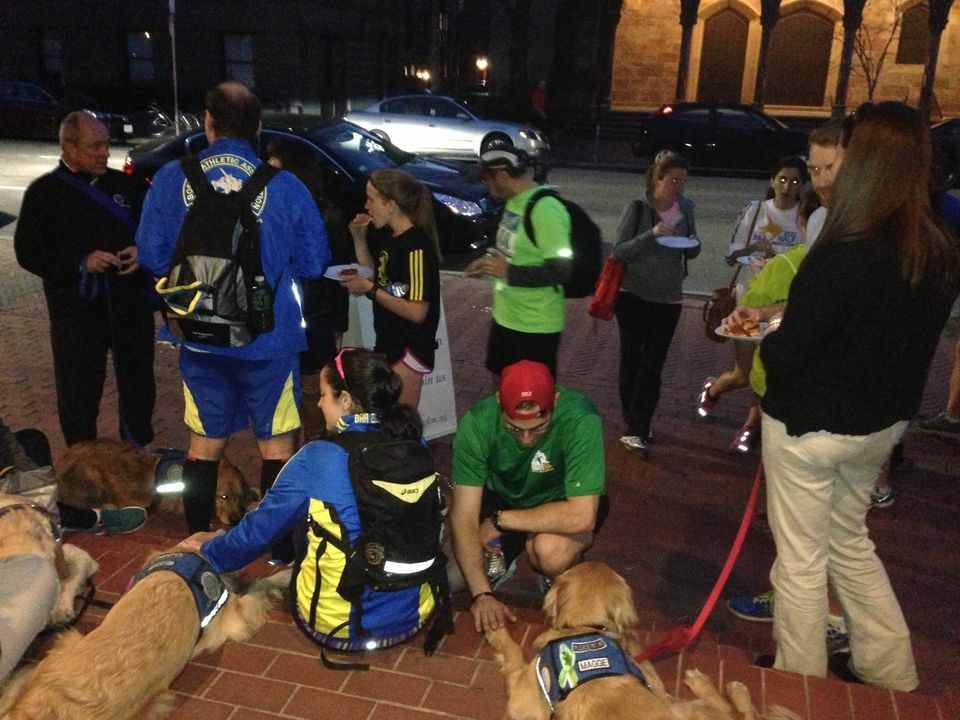 "The ""Wednesday Night Running Club"" in Boston stopped by First Lutheran Church of Boston to see the LCC K-9 Comfort Dogs. Luth"