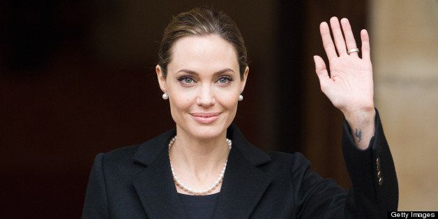 US actress and humanitarian campaigner Angelina Jolie leaves Lancaster House in central London on April 11, 2013 after speaki