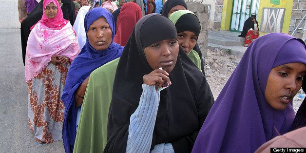Women wait in line on June 26, 2010 outside a polling station in Hargeisa, the capital of the self-proclaimed state of Somali