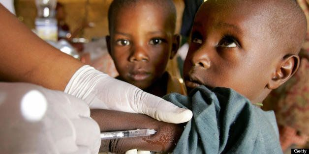 (FILES) This photo dated 17 March 2006 shows a child being vaccinated against meningitis in Tchadoua near Maradi in southwest