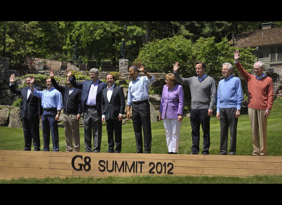 World leaders attend the family photo session during the G-8 Summit at Camp David, Md., Saturday, May 19, 2012. From left are