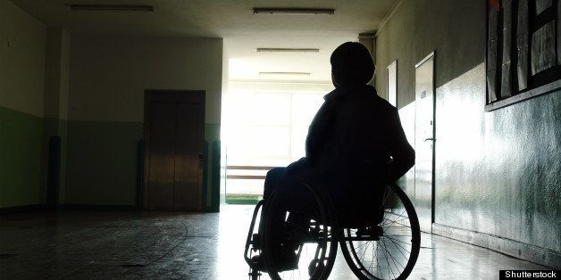 silhouette of handicapped woman ...