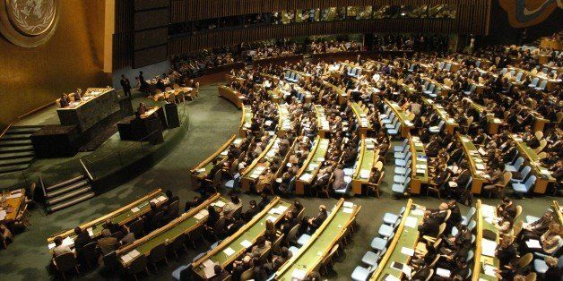 UNITED STATES - SEPTEMBER 24:  United Nations 62nd General Assembly..LtoR..Srgjan Kermin President of G.A., Secty General, Ba