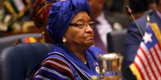 Liberian President Ellen Johnson Sirleaf attends an Arab and African leaders summit meeting in Kuwait city on November 19, 20
