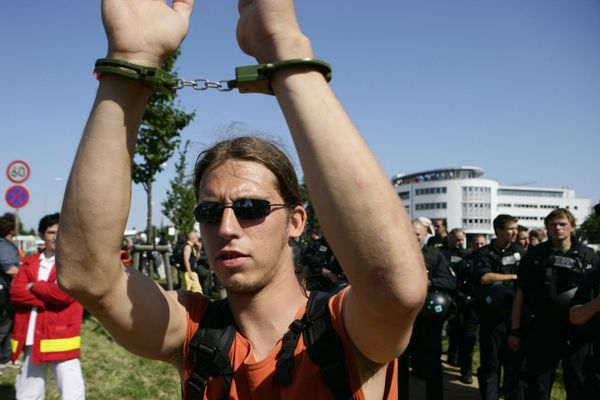 You never know when you'll have to handcuff yourself to a tree -- or to your fellow protesters. A necessity in any activist's