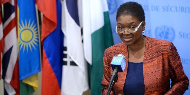 NEW YORK, NY - MARCH 28:  The U.N. Humanitarian Affairs Chief Valerie Amos speaks to the media following United Nations Secur