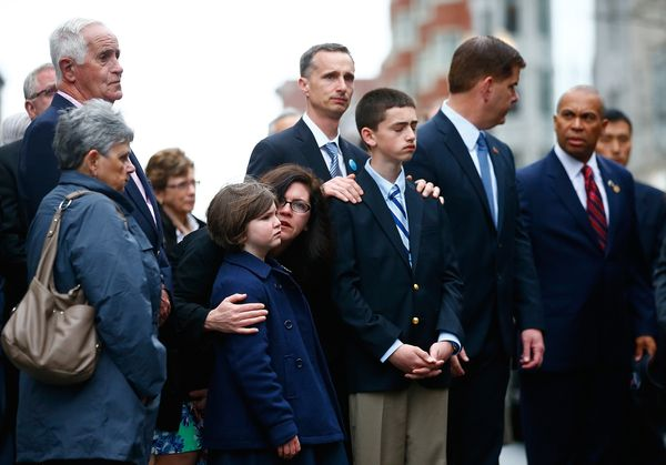 Martin Richard's family stands during the wreath-laying ceremony.